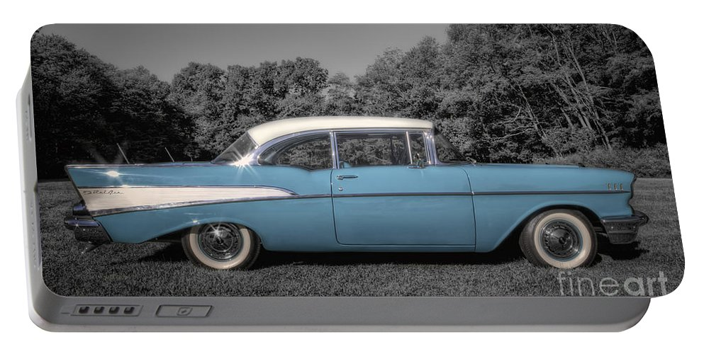 57 Chevy Portable Battery Charger featuring the photograph 57 Chevy Black And White And Color by David B Kawchak Custom Classic Photography