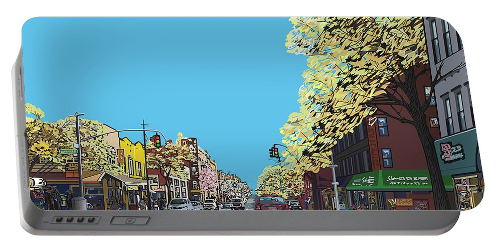 Landscape Portable Battery Charger featuring the digital art 5th Ave And Garfield Park Slope Brooklyn by James Mingo