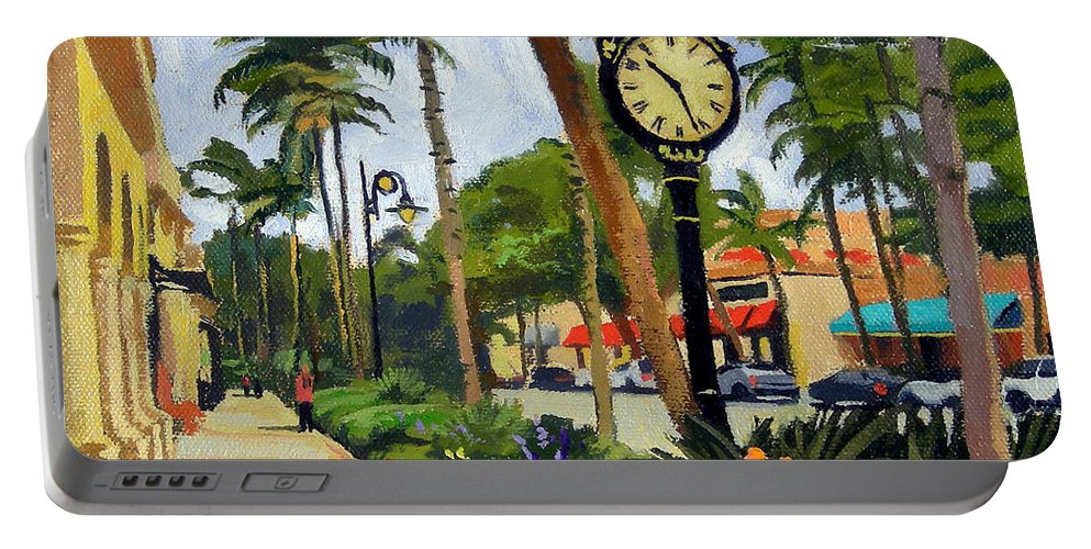 Christine Hopkins Portable Battery Charger featuring the painting 5th Avenue Naples Florida by Christine Hopkins