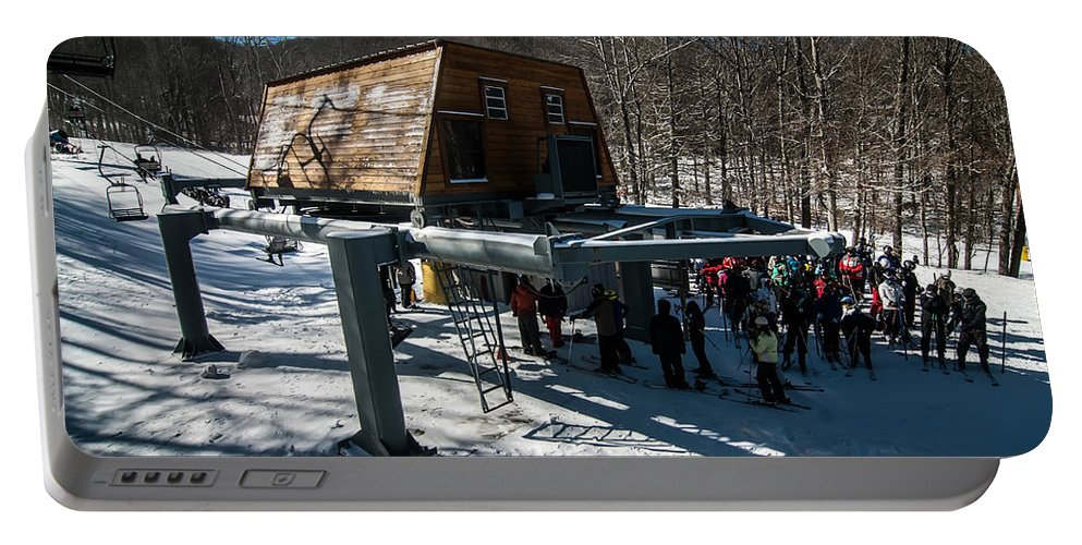 People Portable Battery Charger featuring the photograph At The Ski Resort by Alex Grichenko