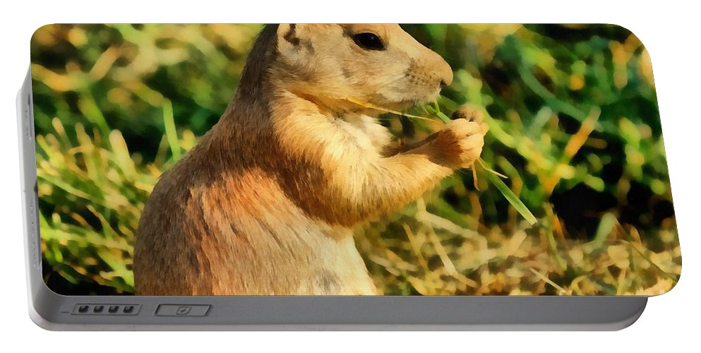 Black-tailed Prairie Dog Portable Battery Charger featuring the painting Black-tailed Prairie Dog by George Atsametakis
