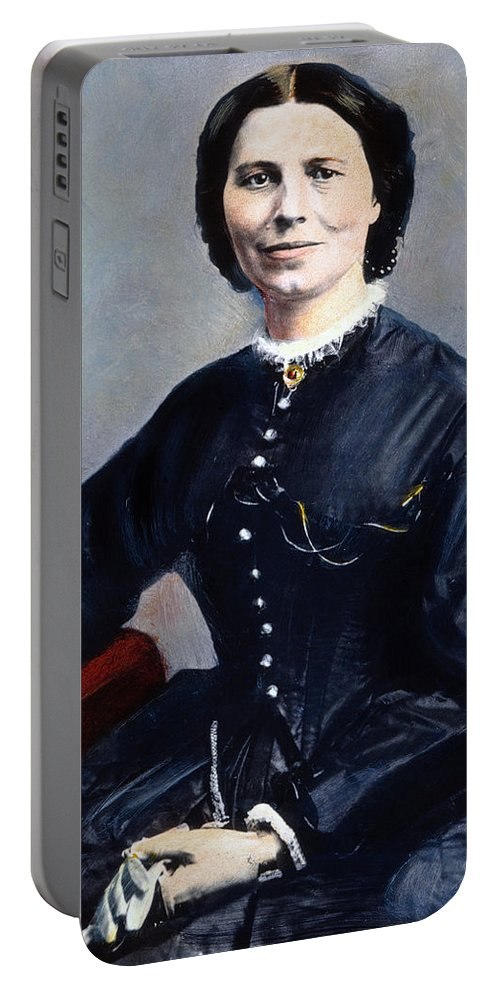 1866 Portable Battery Charger featuring the photograph Clara Barton (1821-1912) by Granger