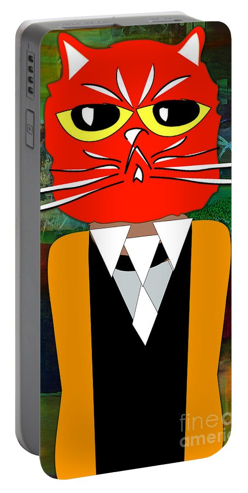 Kitten Paintings Mixed Media Mixed Media Mixed Media Portable Battery Charger featuring the mixed media Cool Cat by Marvin Blaine