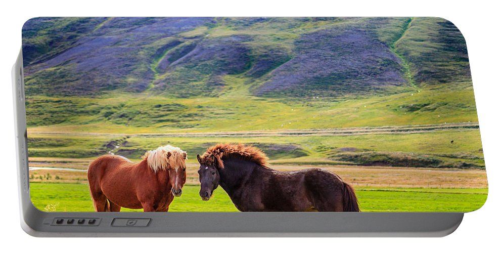 Europe Portable Battery Charger featuring the photograph Icelandic Ponies by Alexey Stiop