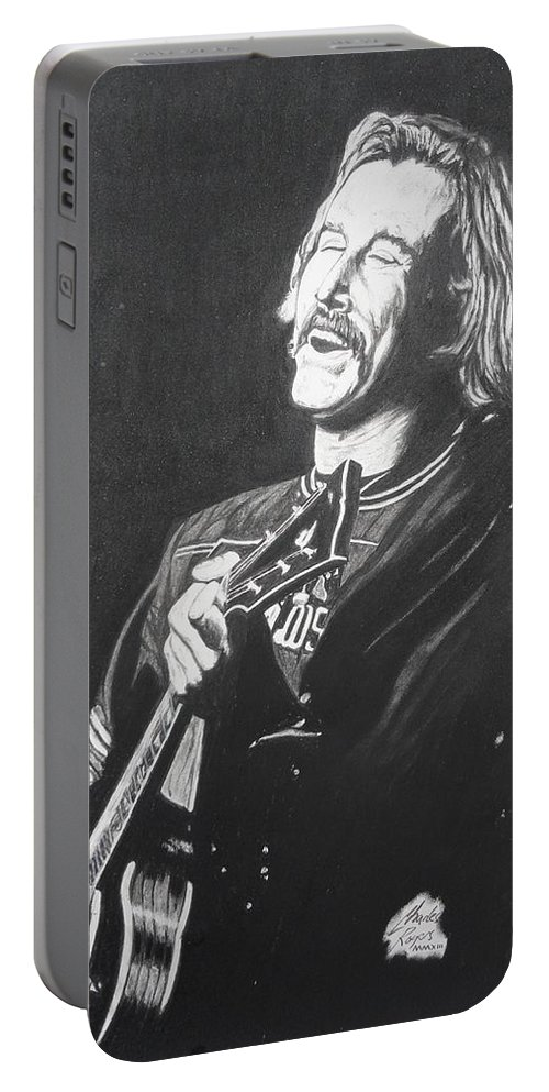 Jimmy Buffet Portable Battery Charger featuring the drawing Jimmy Buffet 1975 by Charles Rogers