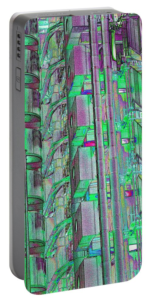 Abstract Portable Battery Charger featuring the digital art Lloyd's Building London Art by David Pyatt