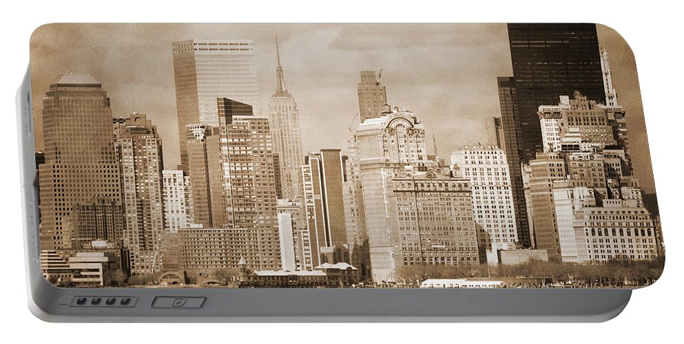 Bw Portable Battery Charger featuring the photograph Manhattan Buildings Vintage by RicardMN Photography