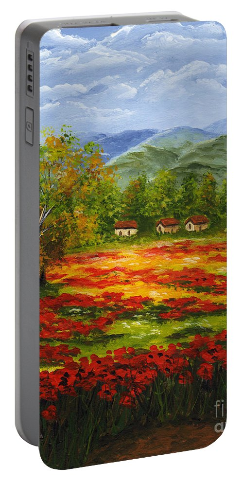 Landscape Portable Battery Charger featuring the painting Mediterranean Landscape by Voros Edit