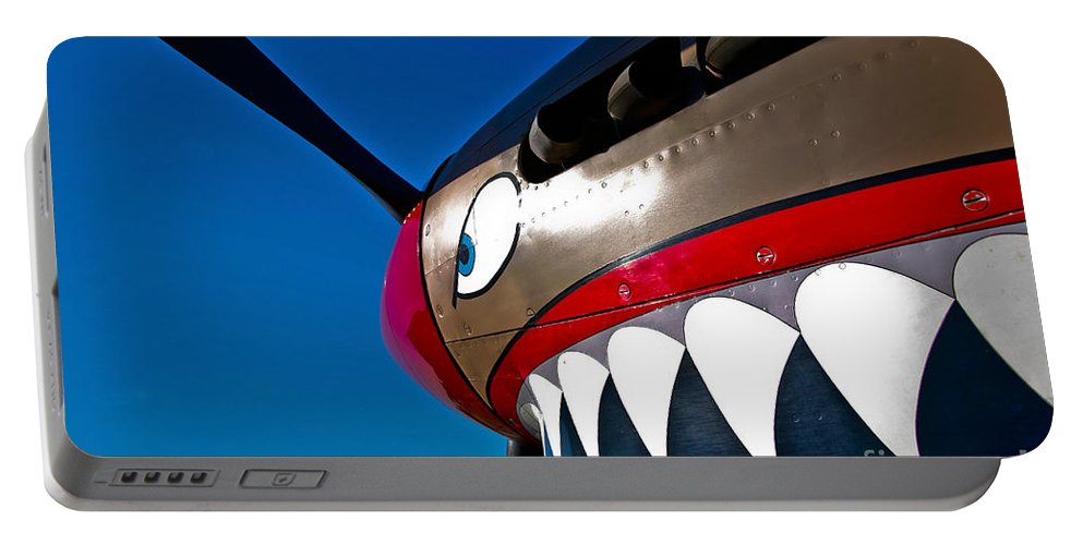 Horizontal Portable Battery Charger featuring the photograph Nose Art On A Curtiss P-40e Warhawk by Scott Germain