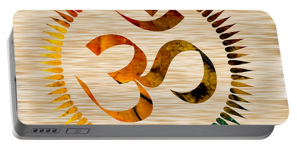 Namaste Mixed Media Portable Battery Charger featuring the mixed media Om by Marvin Blaine