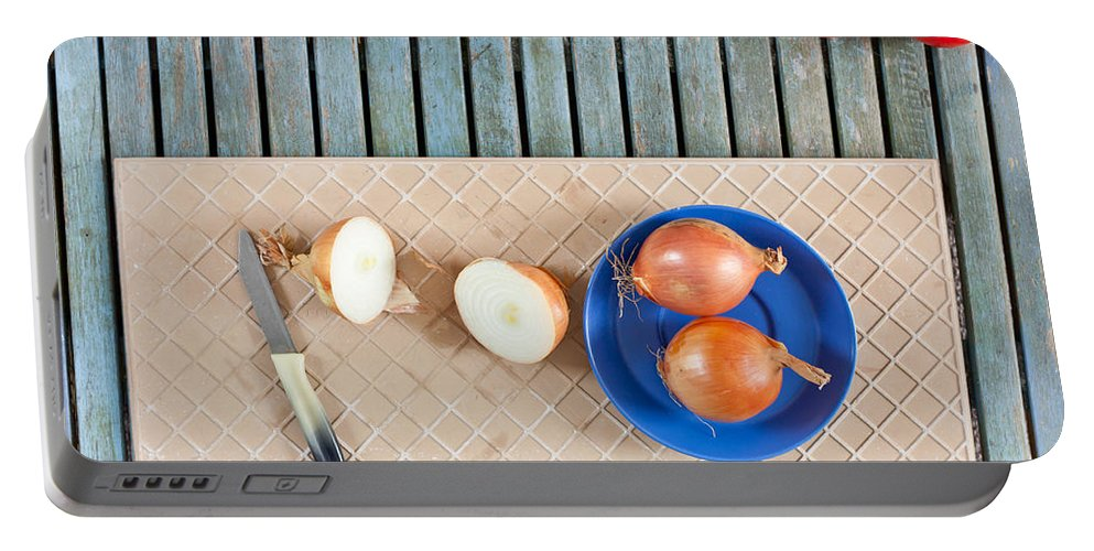 Balsamic Portable Battery Charger featuring the photograph Onions by Tom Gowanlock