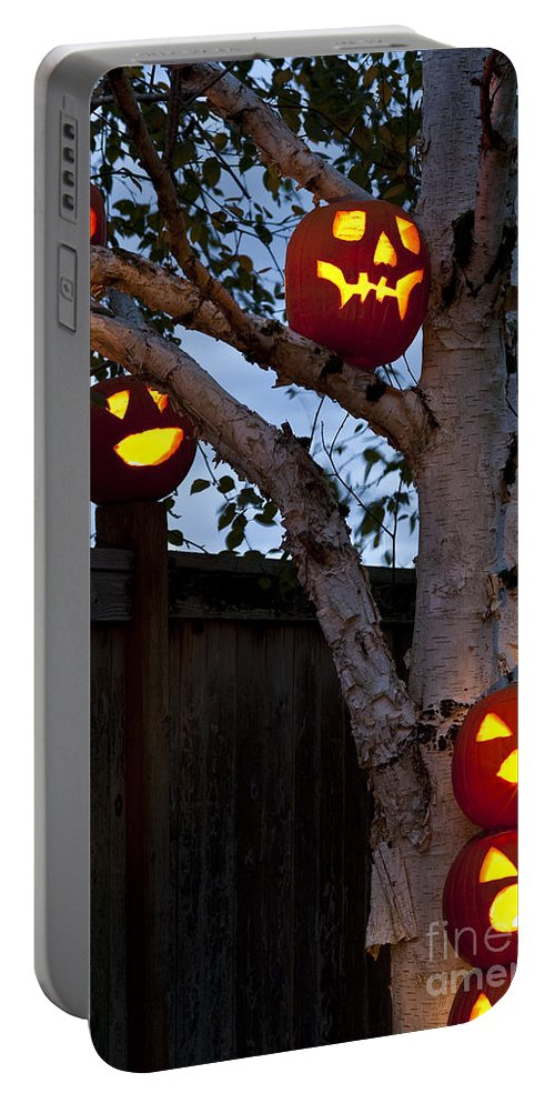 31st Portable Battery Charger featuring the photograph Pumpkin Escape Over Fence by Jim Corwin