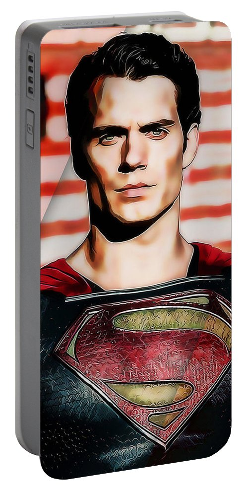 Superman Art Portable Battery Charger featuring the mixed media Superman by Marvin Blaine