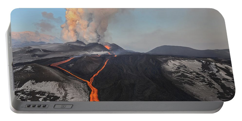 Feb0514 Portable Battery Charger featuring the photograph Tolbachik Volcano Erupting Kamchatka by Sergey Gorshkov