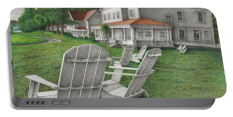 Drawing Portable Battery Charger featuring the drawing 605 Murray Circle by Michael Stanford