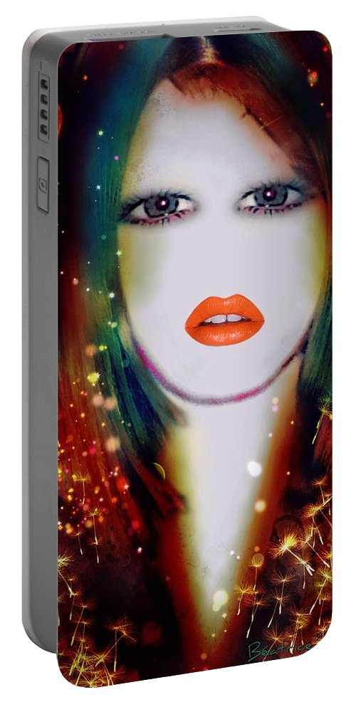 Beatrice Portable Battery Charger featuring the painting Beatrice by Pikotine Art