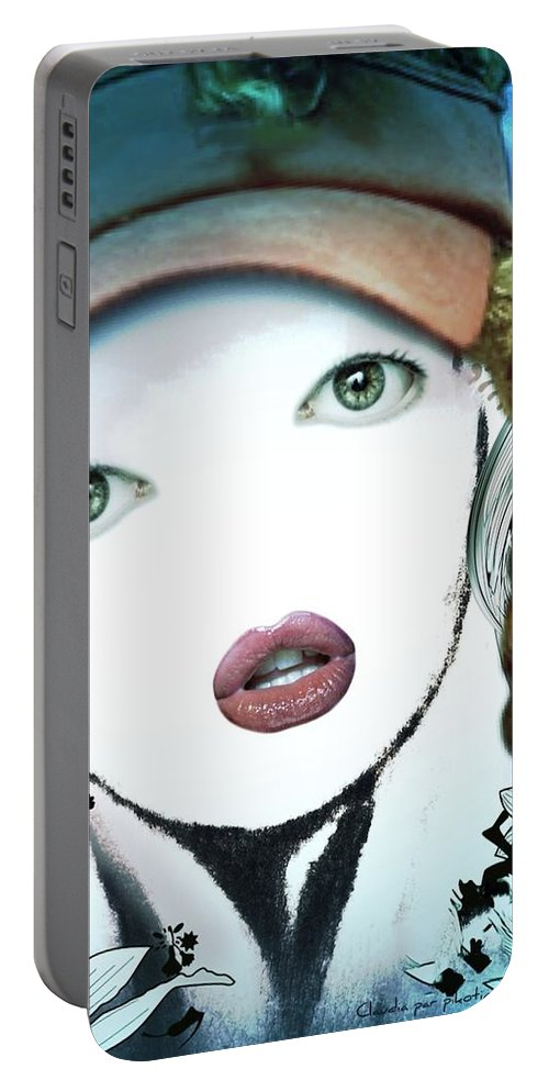 Claudia Portable Battery Charger featuring the painting Claudia by Pikotine Art