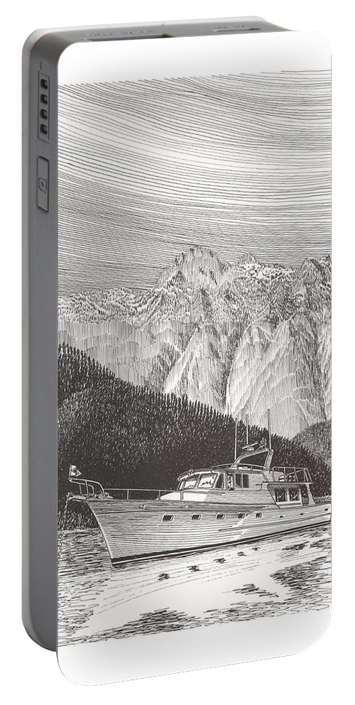 A Pen & Ink Yacht Portrait Of A 65 Foot Yacht Anchored In Desolation Sound Portable Battery Charger featuring the drawing Desolation Sound Quiet Anchorage   by Jack Pumphrey