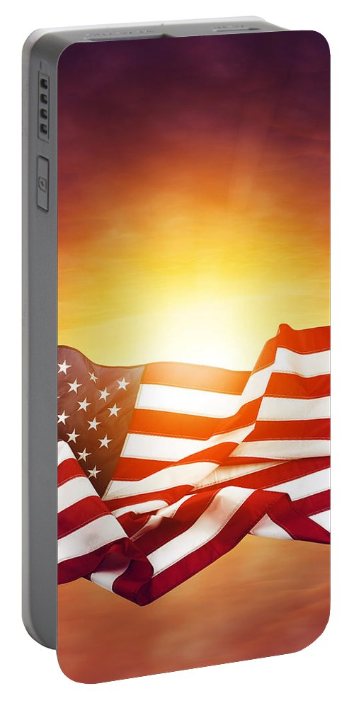 Sun Portable Battery Charger featuring the photograph American Flag by Les Cunliffe