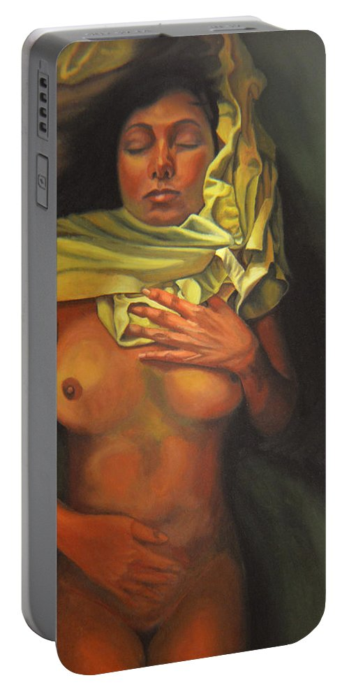 Sexual Portable Battery Charger featuring the painting 7 30 A.m. by Thu Nguyen