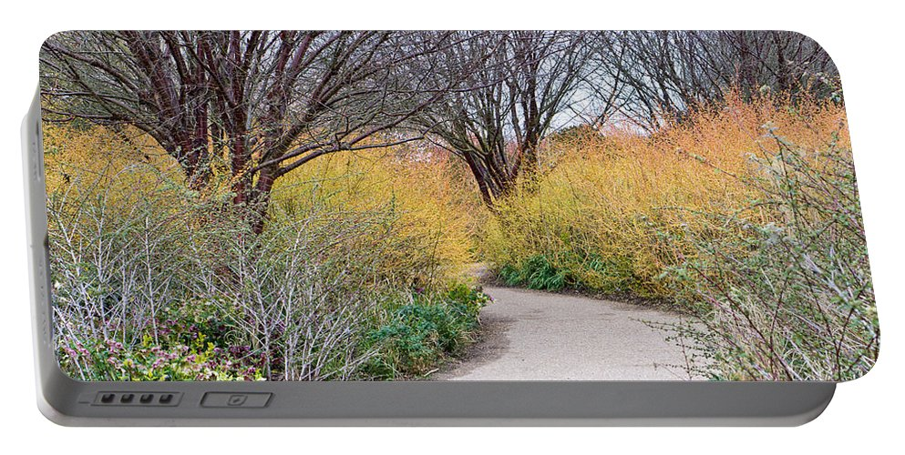 Background Portable Battery Charger featuring the photograph Garden Path by Tom Gowanlock