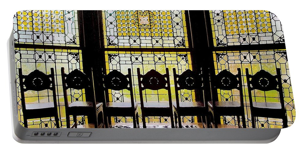 Flagler College Portable Battery Charger featuring the photograph 7 Hairs And Stained Glass Db by Rich Franco