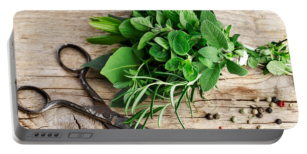Lorel Portable Battery Charger featuring the photograph Kitchen Herbs by Nailia Schwarz
