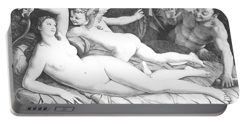 Bronzino Portable Battery Charger featuring the painting Nude Art by Snowflake Obsidian