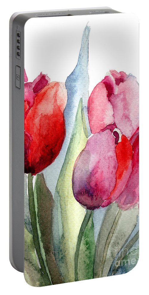 Backdrop Portable Battery Charger featuring the painting Tulips Flowers by Regina Jershova
