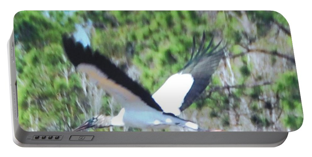 In Full Flight Portable Battery Charger featuring the photograph Wood Stork by Robert Floyd