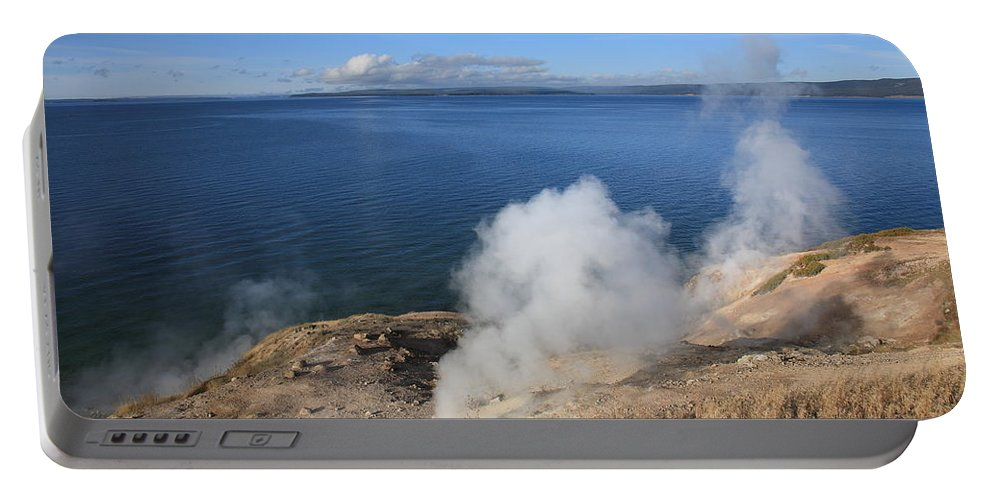America Portable Battery Charger featuring the photograph Yellowstone Lake And Geysers by Frank Romeo