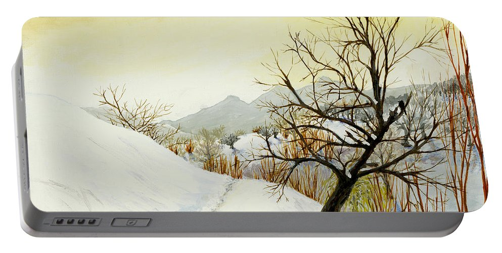 Landscape Portable Battery Charger featuring the painting 70 Km North Of Sofia by Carlene Salazar
