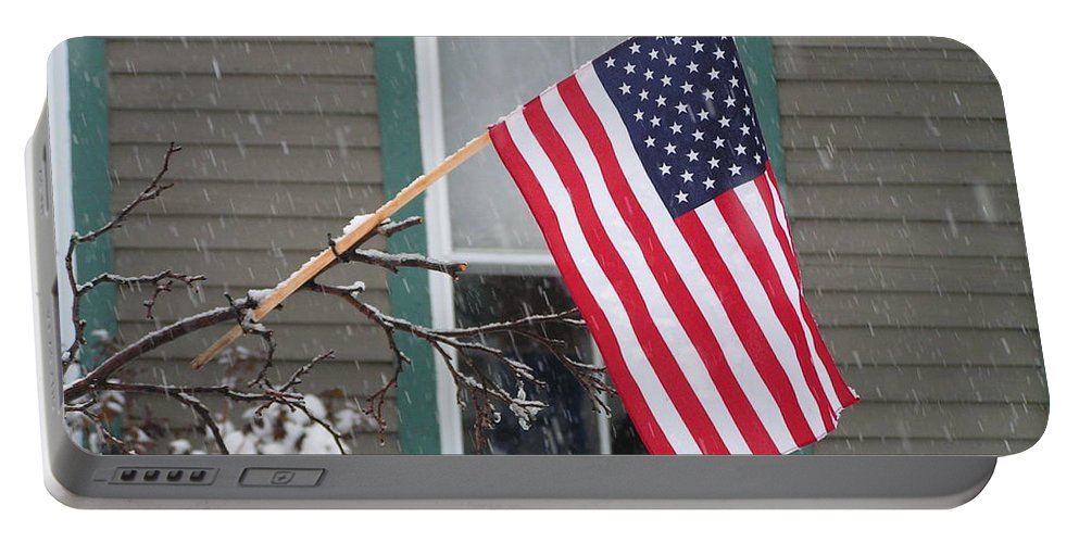#762 D68 American Flag Winter Portable Battery Charger featuring the photograph #762 D68 American Flag Winter by Robin Lee Mccarthy Photography
