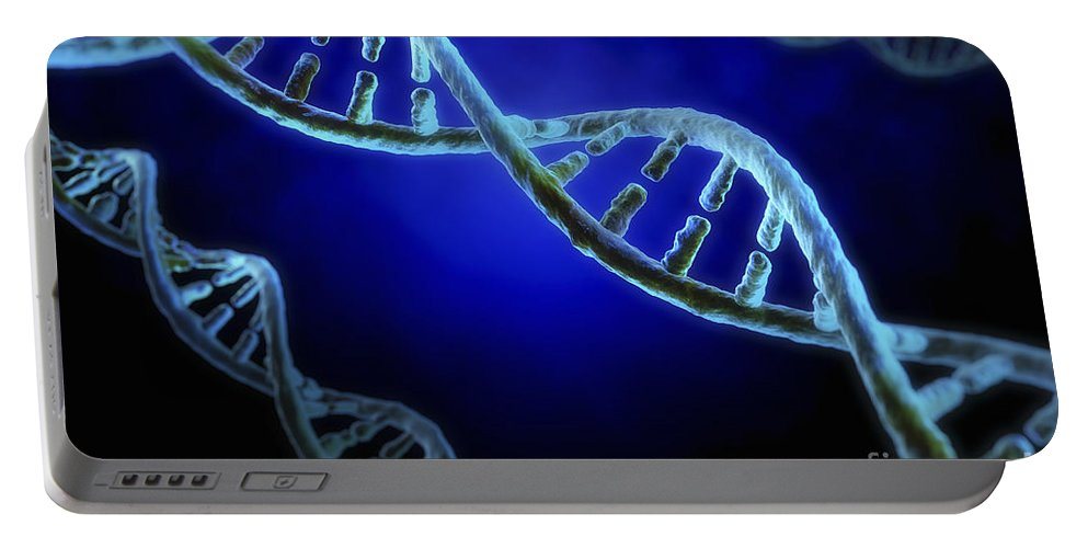 Digitally Generated Image Portable Battery Charger featuring the photograph Dna by Science Picture Co