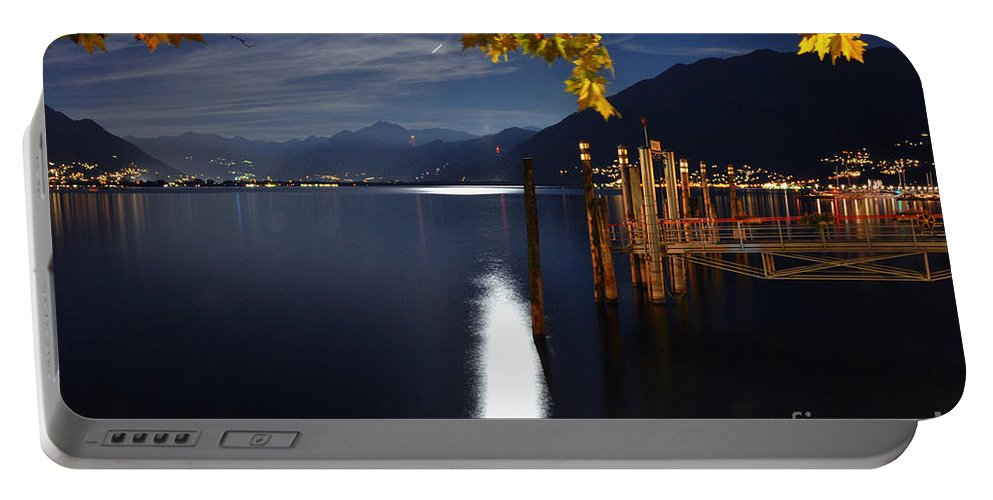Moon Portable Battery Charger featuring the photograph Moon Light Over An Alpine Lake by Mats Silvan