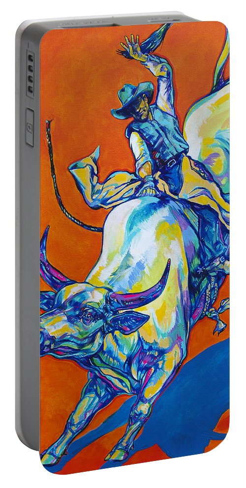 Cowboy Portable Battery Charger featuring the painting 8 Second Insanity by Derrick Higgins