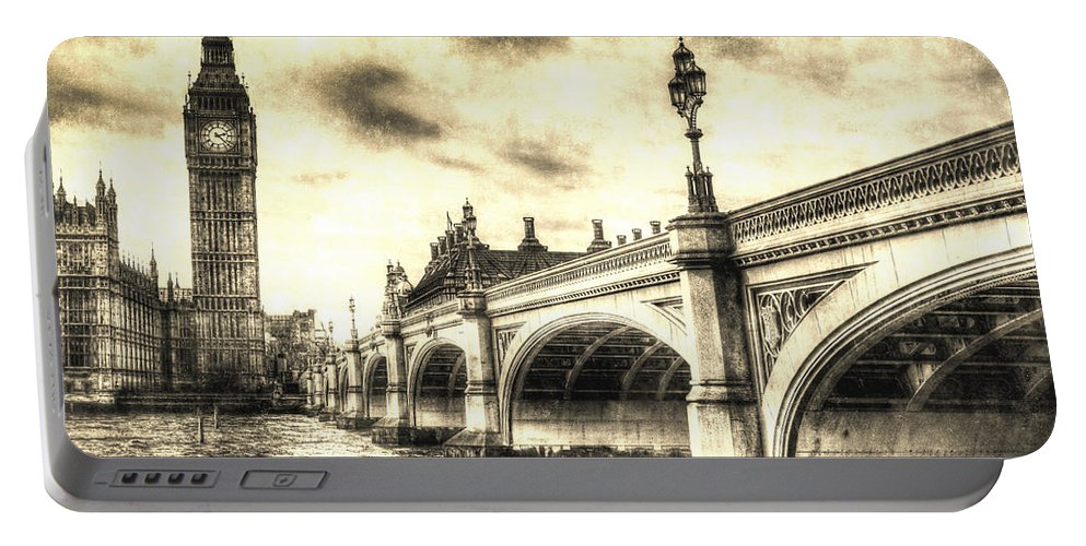 Westminster Portable Battery Charger featuring the digital art Westminster Bridge London by David Pyatt