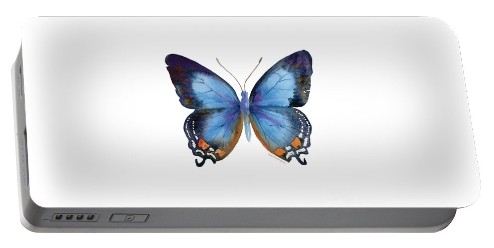 Imperial Blue Butterfly Portable Battery Charger featuring the painting 80 Imperial Blue Butterfly by Amy Kirkpatrick