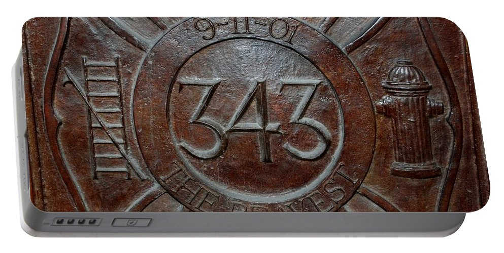 Fdny Portable Battery Charger featuring the photograph 9 11 01 F D N Y 343 by Rob Hans