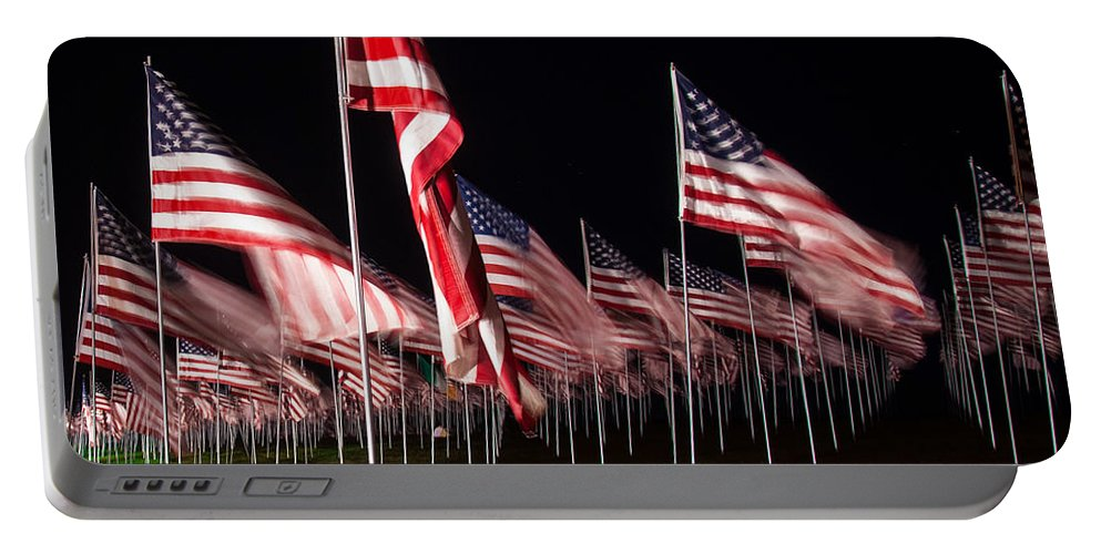 911 Portable Battery Charger featuring the digital art 9-11 Flags by Gandz Photography
