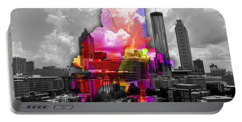 Atlanta Art Portable Battery Charger featuring the mixed media Atlanta Map And Skyline Watercolor by Marvin Blaine