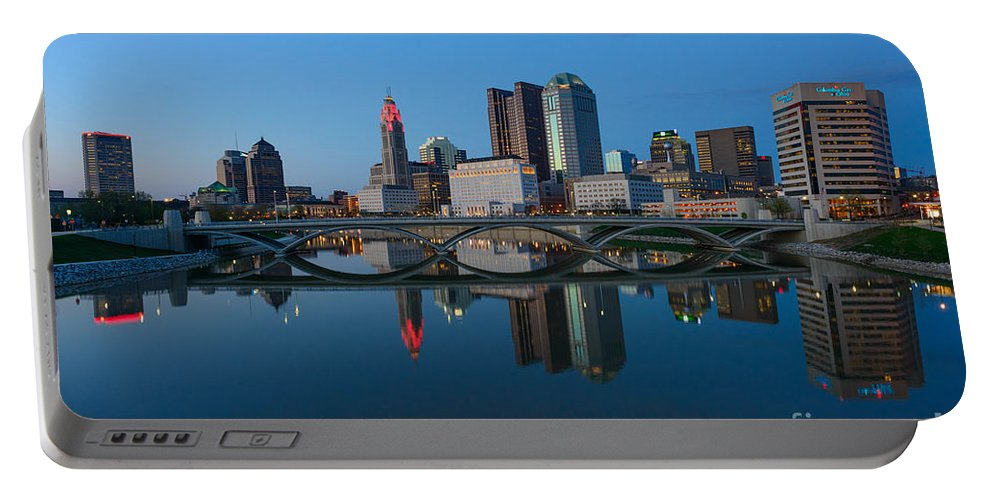 Columbus Portable Battery Charger featuring the photograph Fx2l-508 Columbus Ohio Skyline Photo by Ohio Stock Photography