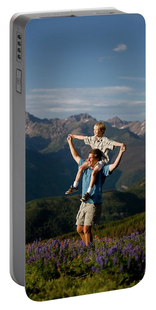 Boys Portable Battery Charger featuring the photograph Family Hiking by Jack Affleck