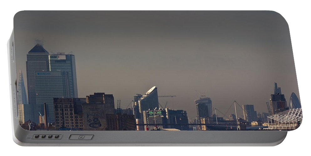 London Portable Battery Charger featuring the photograph London City Airport by David Pyatt