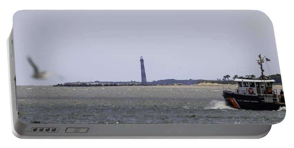 Morris Island Lighthouse Portable Battery Charger featuring the photograph Coast Guard by Dale Powell