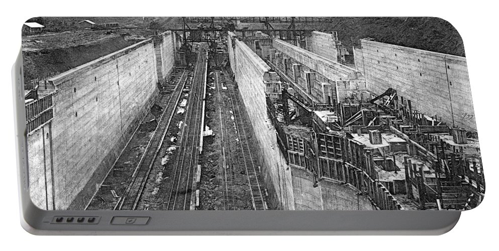 1910 Portable Battery Charger featuring the photograph Panama Canal, C1910 by Granger