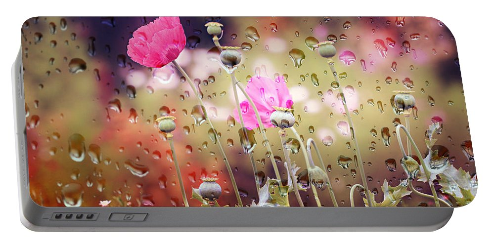 Drops Portable Battery Charger featuring the photograph Raindrops by Heike Hultsch