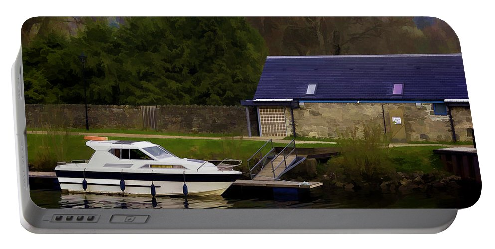 Caledonian Canal Portable Battery Charger featuring the photograph Small White Yacht In The Water Of The Caledonian Canal by Ashish Agarwal