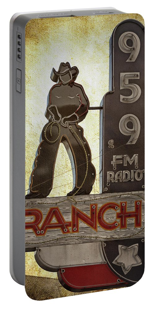 Radio Station Portable Battery Charger featuring the photograph 95.9 The Ranch by Joan Carroll