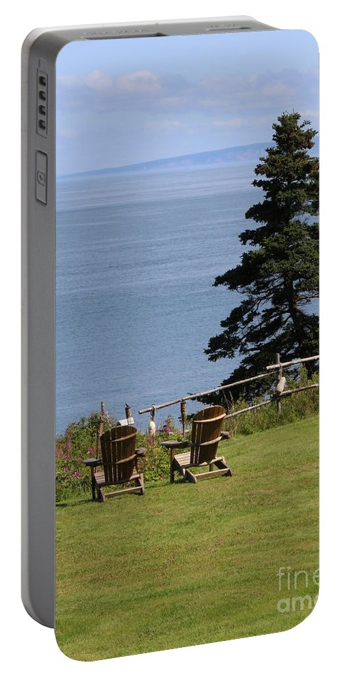 Beach Chairs Portable Battery Charger featuring the photograph A Beautiful View by Cheryl Aguiar